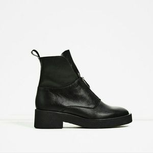 Zara Leather Ankle Boots with Zip