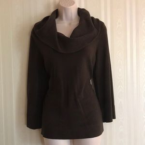 LOFT dark brown cowl neck sweater RARELY WORN