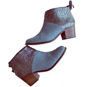 TOMS Metallic and Gray Heeled Ankle Booties