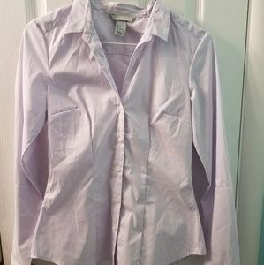 H&M light purple white striped button down shirt