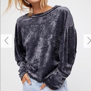 NWT Free People Velvet Grey Pullover - Small