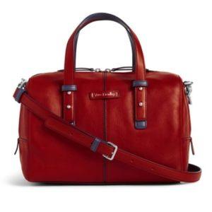 Vera Bradley red leather Gallatin satchel