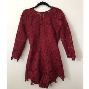 Lovers and Friends Peony Red Wine Romper