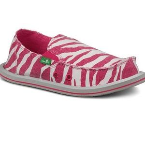 Sanuk toddler pink/white zebra