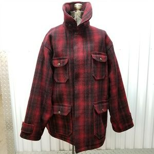 Mint Condition Red Black Plaid Woolrich Field Coat