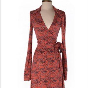DVF silk wrap dress, red pattern
