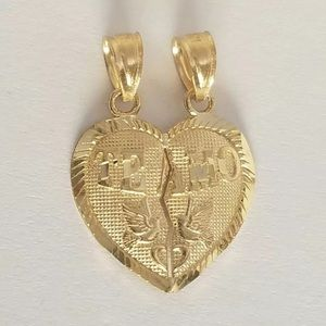 "Solid Gold ""Te Amo"" I love you Heart Pendant NEW"