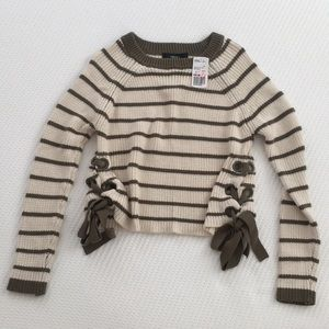 Forever 21 cream and sage sweater size S
