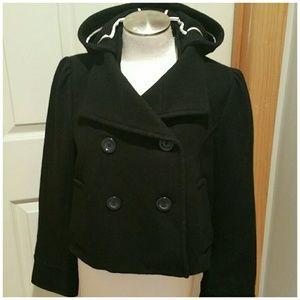 Old Navy black wool cropped pea coat. Med.