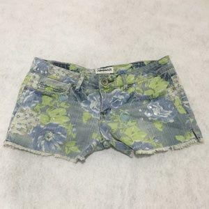 Floral Blue Jean Shorts, Size 3/4