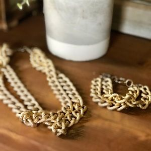 J. Crew Gold Braided Necklace & Bracelet