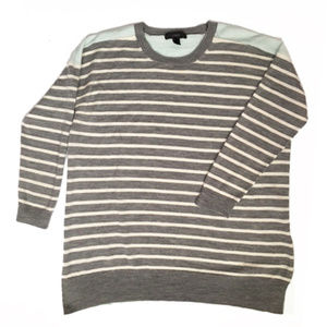 J.Crew Grey Merino Colorblock Stripe Sweater