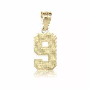 10K Solid Gold Number Pendant 0 - 9 Gold Lucky #