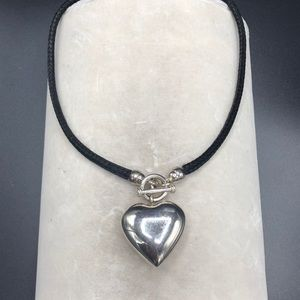 Jewelry - Sterling Heart Necklace on Black braided cord 16""