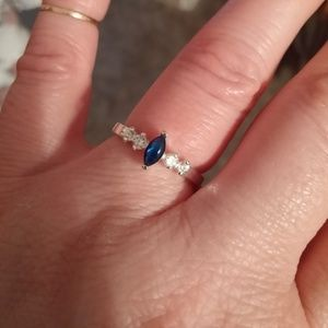Sapphire and CZ 'diamond' ring