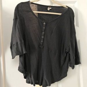 Free People Gray 3/4 Length Shirt