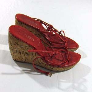 Prada Red Leather Cork Platform Wedge Shoes