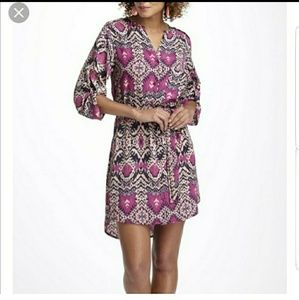 Anthro Maeve ikat print belted shirtdress sz L