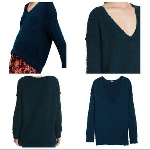 FREE PEOPLE LOFTY BOUCLE V NECK SWEATER