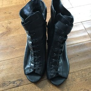Laced up Open Toe Booties