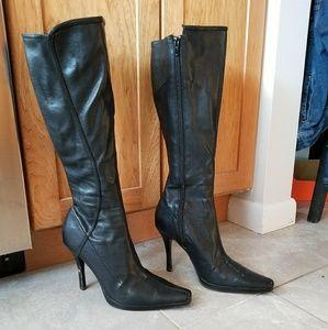 Nine.west knee high black leather boots