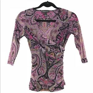 Purple paisley print quarter sleeve top by INC