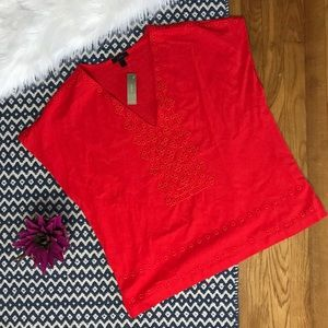 J. Crew Red Eyelet V-Neck Blouse NWT
