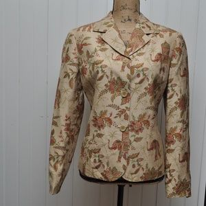 Talbots Blazer Jacket SZ 8 100% Silk Asian Print