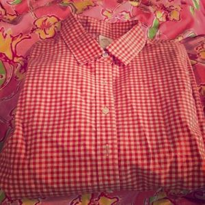 Orange gingham J.Crew button up shirt