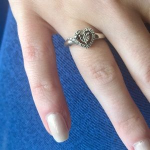 Sterling Silver Diamond Heart (Promise) Ring