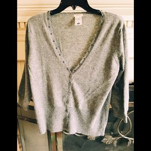 Gray cardigan with bead detail.