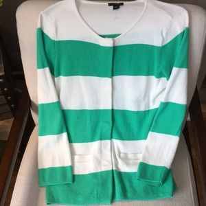 Ann Taylor green and white striped cardigan!