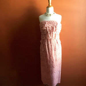 FERMAN O'GRADY Vintage 50s Lace Pink Dress