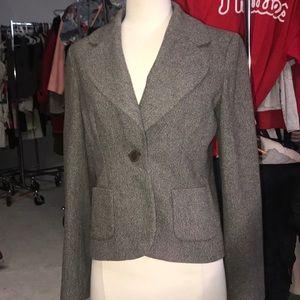 gray 1-button blazer