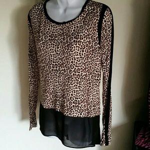 Michael kors women's long sleeve leopard top