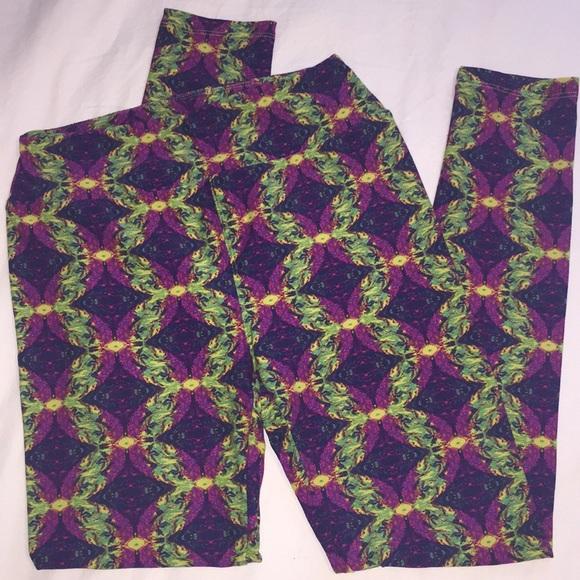 LulaRoe Women/'s OS Leggings black green purple white neon aztec print  NEW