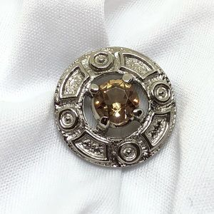 🆕Vintage Silver & Topaz Rhinestone Geometric Pin