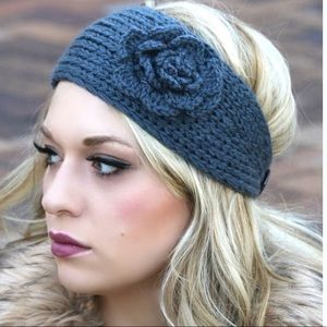 Flower crochet head warmer