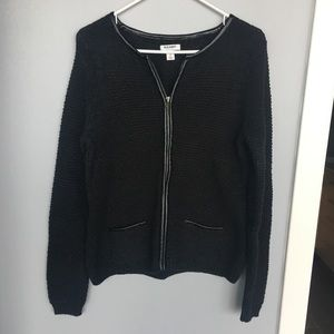 Old navy crochet jacket sweater zipup leather pipe