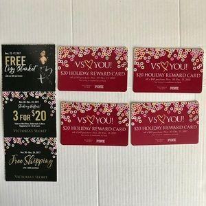 4 Victoria's Secret $20 Holiday Reward Cards