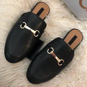 Faux Leather Loafer Slides