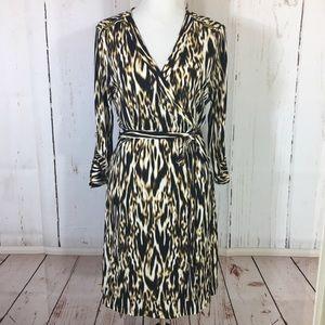 Calvin Klein Animal Print Jersey Wrap Dress 14