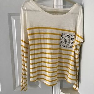 Madison Jules Cream and Gold Long Sleeve Shirt