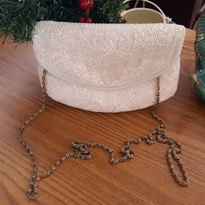 Vntg White Beaded Purse By La Regale made in Macau