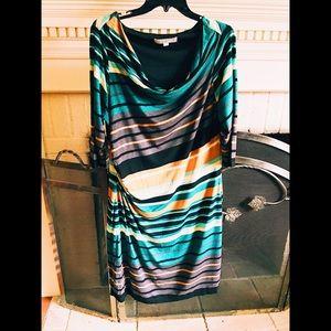Multi color striped dress.