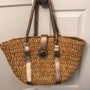 Michael kors wicker and leather large tote