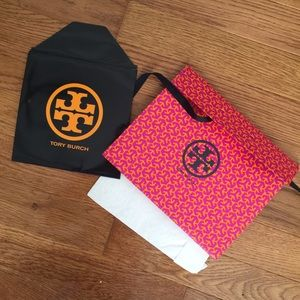 Tory Burch gift bag, tissue paper and card