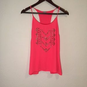 Bright salmon pink tank top