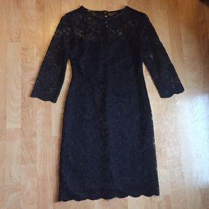 NWOT Calvin Klein black lace midi dress