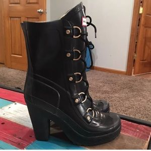 Hunter Rain Boots / Booties lace up Black
